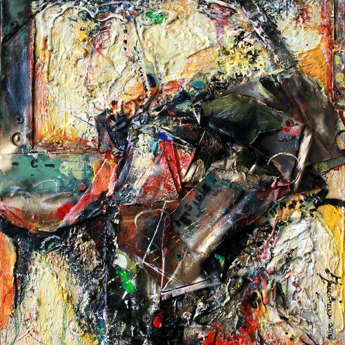 Mixité CF- 54   26 x 35 cm / 14 x 19 in.   Huile, acrylique ,encaustique , collage , fragment de cuivre recyclé , intégré sur toile monté sur contre-plaqué / mix media on canvas   2014