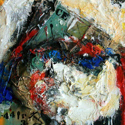 Archipel no CF-443   30 x40 cm / 15 x 20 in.   Huile, acrylique ,encaustique , collage , fragment de cuivre recyclé , intégré sur toile monté sur contre-plaqué / mix media on canvas   2014