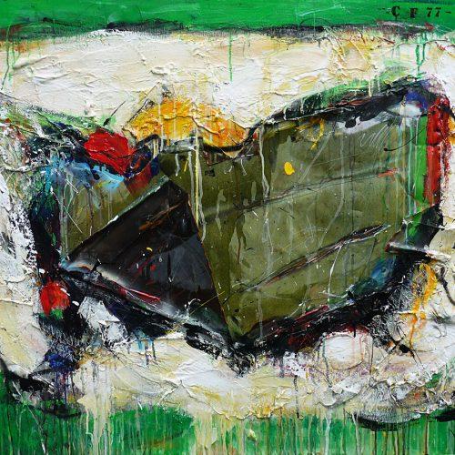 Papillon no CF - 77 | 91,44 x 121,92 cm / 36 x 48 in. | Huile, acrylique ,encaustique , collage , fragment de cuivre recyclé , intégré sur toile monté sur contre-plaqué / mix media on canvas | 2015