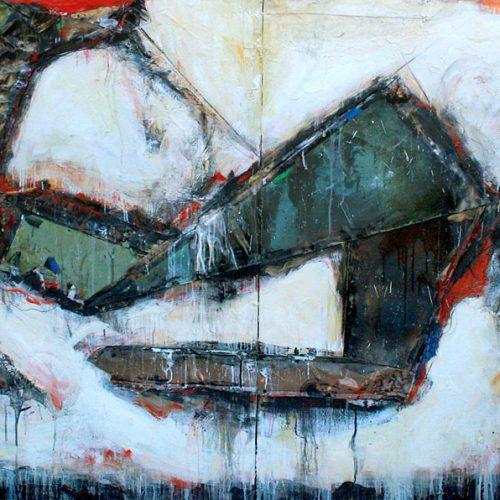 Composition no A-77 | 121,92 x 243,84 cm / 48 x 96 in. | Huile, acrylique ,encaustique , collage , fragment de cuivre recyclé , intégré sur toile monté sur contre-plaqué / mix media on canvas | 2012