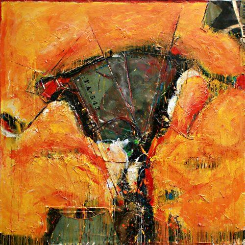 L'adn de notre histoire no TA - 543 | 182,88 x 182,88 cm / 72 x 72 in. | Huile, acrylique ,encaustique , collage , fragment de cuivre recyclé , intégré sur toile monté sur contre-plaqué / mix media on canvas | 2014