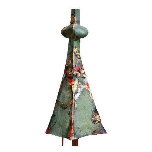 L'aiguillon du conte de LOUIS DE BUADE no PB-88 | cuivre recyclé et gravé , provenant de l ,ancienne toiture du château Frontenac , retouché à l'huile , peinture industrielle , pastel oil , et intégration de morceau de cuivre | 2014