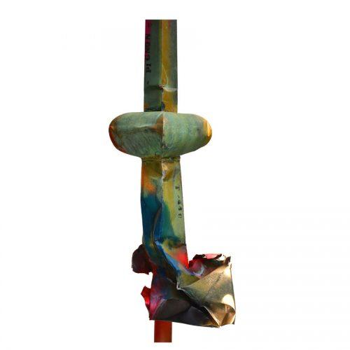 Pignon Frontenac no T - 440 | cuivre recyclé et gravé , provenant de l ,ancienne toiture du château Frontenac , retouché à l'huile , peinture industrielle , pastel oil , et intégration de morceau de cuivre | 2015