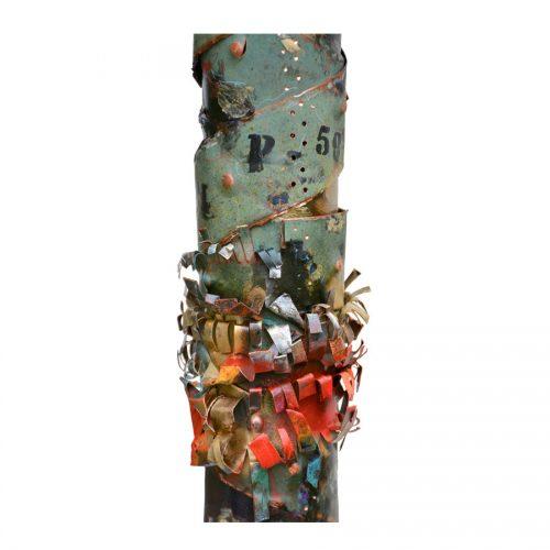 Balise du temps no YM-983-76 | cuivre recyclé et gravé , provenant de l ,ancienne toiture du château Frontenac , retouché à l'huile , peinture industrielle , pastel oil , et intégration de morceau de cuivre | 2014