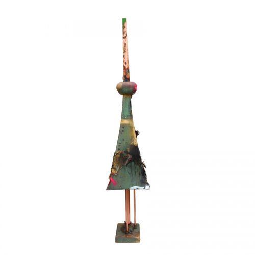 Pignon Frontenac no - YM - 172 - 89 | cuivre recyclé et gravé , provenant de l ,ancienne toiture du château Frontenac , retouché à l'huile , peinture industrielle , pastel oil , et intégration de morceau de cuivre | 2014