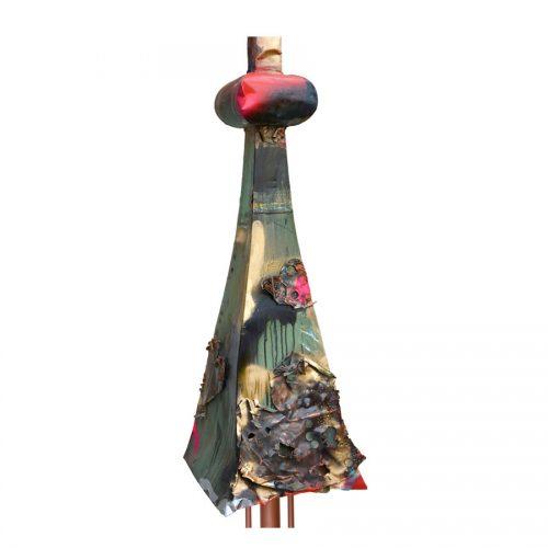 Pignon Frontenac no - YM - 279 | cuivre recyclé et gravé , provenant de l ,ancienne toiture du château Frontenac , retouché à l'huile , peinture industrielle , pastel oil , et intégration de morceau de cuivre | 2014