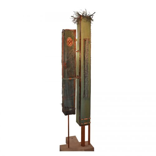 Les chemins parallèles CHEMINS PARALLÈLES | cuivre recyclé et gravé , provenant de l ,ancienne toiture du château Frontenac , retouché à l'huile , peinture industrielle , pastel oil , et intégration de morceau de cuivre | 2014