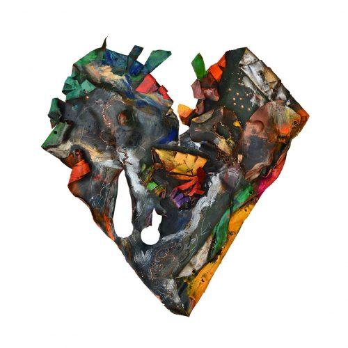 Coeur No MV-76 – 3 | 39 x 65 cm / 19 x 34 in. | cuivre recyclé, intégration de peinture industrielle, acrylique, huile, pigment crayon, aérosol / mixte media on copper | 2016