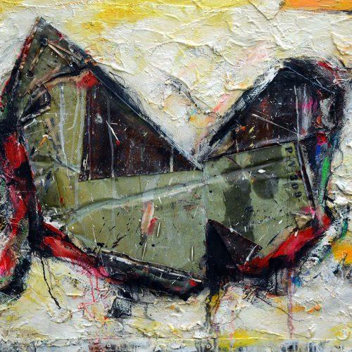 Papillon de vulcain PV - 309 | 91,44 x 121,92 cm / 36 x 48 in. | Huile, acrylique ,encaustique , collage , fragment de cuivre recyclé , intégré sur toile monté sur contre-plaqué / mix media on canvas | 2014