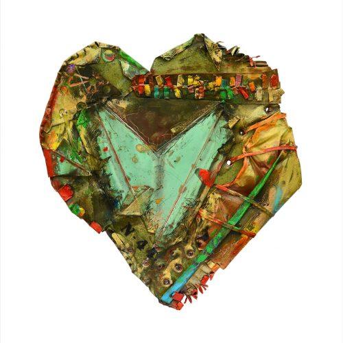 Coeur No N – 44 | 39 x 65 cm / 19 x 34 in. | cuivre recyclé, intégration de peinture industrielle, acrylique, huile, pigment crayon, aérosol / mixte media on copper | 2016