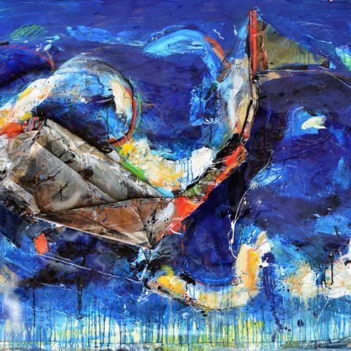 Monde animal FC-772 | 121,92 x 182,88 cm / 48 x 72 in. | Huile, acrylique ,encaustique , collage , fragment de cuivre recyclé , intégré sur toile monté sur contre-plaqué / mix media on canvas | 2014