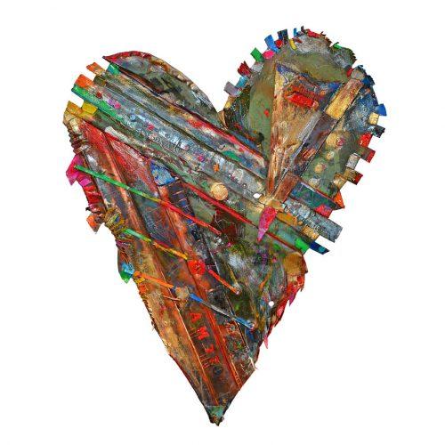 Coeur no AM – 77 | 40 ,43 x 67 cm / 20 x 34 in. | cuivre recyclé, intégration de peinture industrielle, acrylique, huile, pigment crayon, aérosol / mixte media on copper | 2016