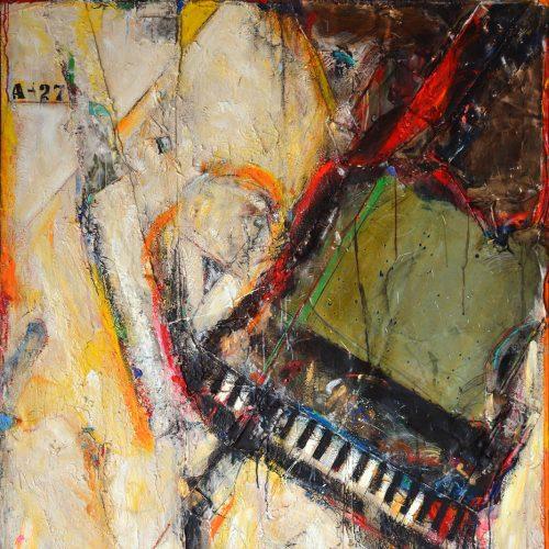 Piano à coeur no A - 27   121,92 x 182,88 cm / 72 x 48 in.   Huile, acrylique ,encaustique , collage , fragment de cuivre recyclé , intégré sur toile monté sur contre-plaqué / mix media on canvas   2015