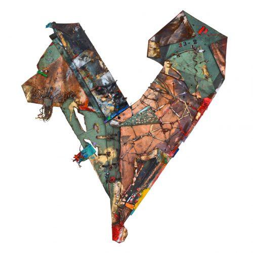 Coeur no P - 33 - 2 - | cuivre recyclé, intégration de peinture industrielle, acrylique, huile, pigment crayon, aérosol / mixte media on copper | 2016