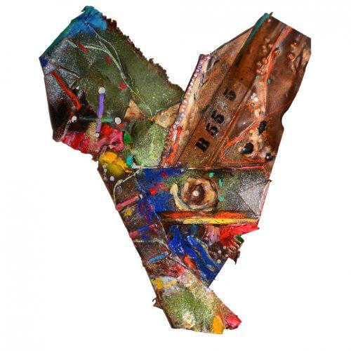Coeur du minotaure no B 5 - 5 | 40 .76 x 62,87 cm / 20 x 31 in. | cuivre recyclé, intégration de peinture industrielle, acrylique, huile, pigment crayon, aérosol / mixte media on copper | 2016