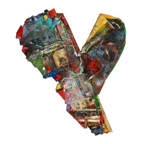 Au coeur de notre nation no 55 | 45,45 x 28 . 34 cm / 22.45 x 14 in. | cuivre recyclé, intégration de peinture industrielle, acrylique, huile, pigment crayon, aérosol / mixte media on copper | 2016