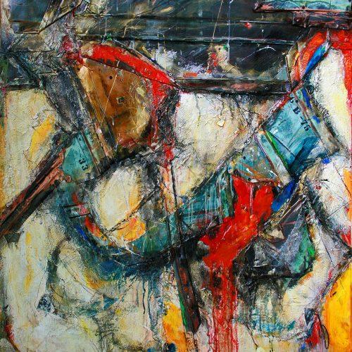 Le vitrail du forgeron GB-75 | 110 x 140 cm / 50 x 40 in. | Huile, acrylique ,encaustique , collage , fragment de cuivre recyclé , intégré sur toile monté sur contre-plaqué / mix media on canvas | 2014