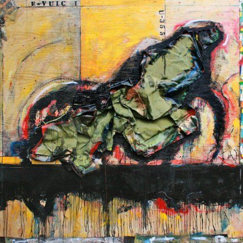 Urvuic no U - 355 | 182,88 x 182,88 cm / 72 x 72 in. | Huile, acrylique ,encaustique , collage , fragment de cuivre recyclé , intégré sur toile monté sur contre-plaqué / mix media on canvas | 2014