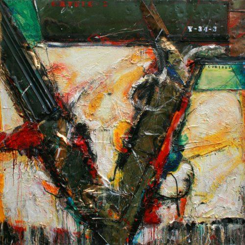 Virtuosité no Y - 34 - 3 | 182,88 182,88 cm / 72 x 72 in. | Huile, acrylique ,encaustique , collage , fragment de cuivre recyclé , intégré sur toile monté sur contre-plaqué / mix media on canvas | 2014