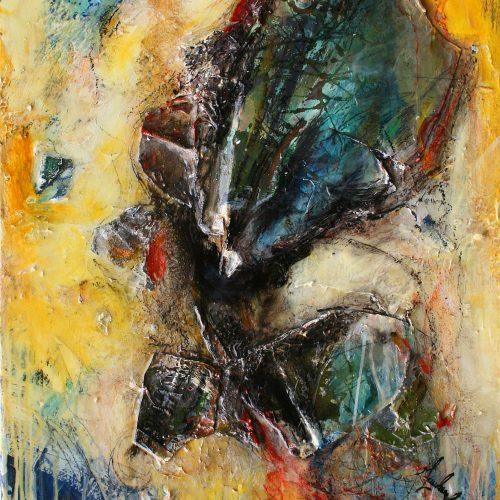 Oxydation no A - 18 | 55,88 x 71,12 cm / 22 x 28 in. | Huile, acrylique ,encaustique , collage , fragment de cuivre recyclé , intégré sur toile monté sur contre-plaqué / mix media on canvas | 2012