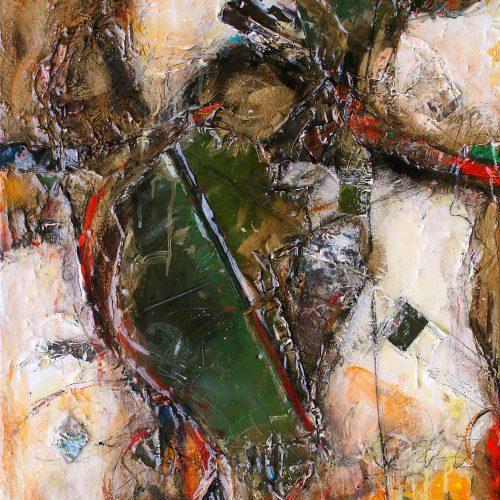 Saxophoniste no A -16 | 55,88 x 71,12 cm / 22 x 28 in. | Huile, acrylique ,encaustique , collage , fragment de cuivre recyclé , intégré sur toile monté sur contre-plaqué / mix media on canvas | 2012