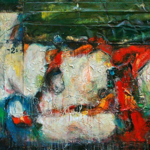 L 'âne et le sorcier no A-25 | 91,44 x 121.92 cm / 36 x 48 in. | Huile, acrylique ,encaustique , collage , fragment de cuivre recyclé , intégré sur toile monté sur contre-plaqué / mix media on canvas | 2012