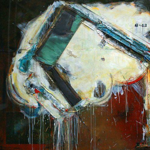 Chemin de fer no G - 43 | 182,88 x 182,88 cm / 72 x 72 in. | Huile, acrylique ,encaustique , collage , fragment de cuivre recyclé , intégré sur toile monté sur contre-plaqué / mix media on canvas | 2014