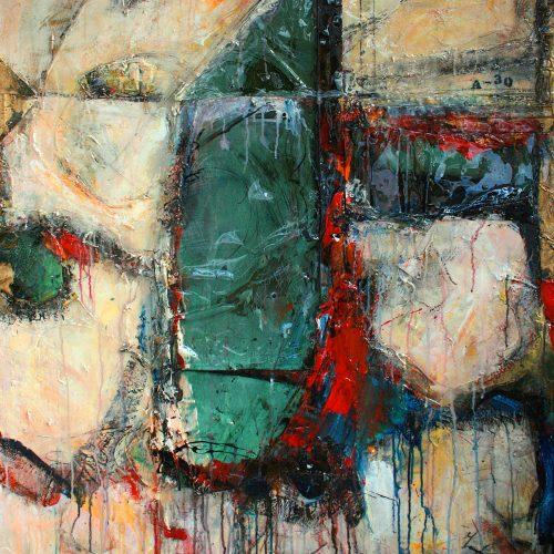 Toit no A - 30 | 94,85 x 59,09 cm / 35 x 20 in. | Huile, acrylique ,encaustique , collage , fragment de cuivre recyclé , intégré sur toile monté sur contre-plaqué / mix media on canvas | 2014