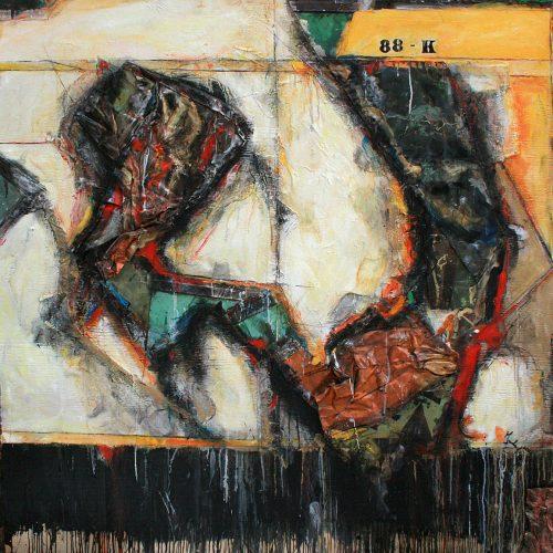 Instant cuivré no - 88 - K | 132,87 x 132,87 cm / 60 x 60 in. | Huile, acrylique ,encaustique , collage , fragment de cuivre recyclé , intégré sur toile monté sur contre-plaqué / mix media on canvas | 2014