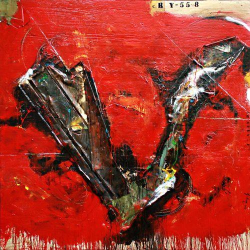 Le feu du souvenir no R-Y 55 - 8 | 182,88 x 182,88 cm / 72 x 72 in. | Huile, acrylique ,encaustique , collage , fragment de cuivre recyclé , intégré sur toile monté sur contre-plaqué / mix media on canvas | 2014