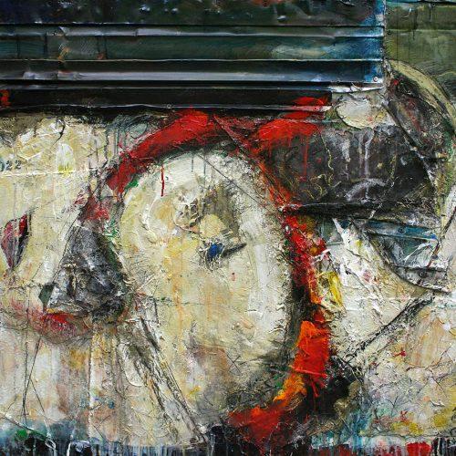 Les rêves peuvent défoncés les plafonds | 91,44 x 121,92 / 36 x 48 in. | Huile, acrylique ,encaustique , collage , fragment de cuivre recyclé , intégré sur toile monté sur contre-plaqué / mix media on canvas | 2013