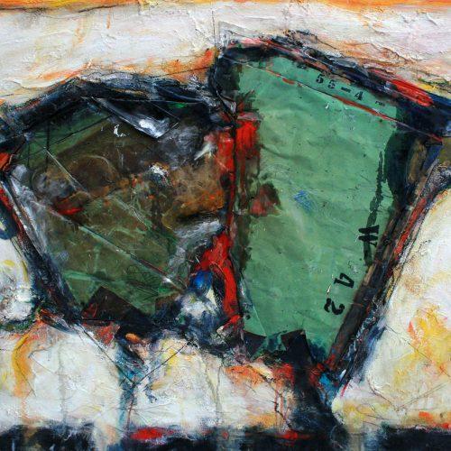 Livre ouvert no - W - 42 | 91,44 x 121,92 cm / 36 x 48 in. | Huile, acrylique ,encaustique , collage , fragment de cuivre recyclé , intégré sur toile monté sur contre-plaqué / mix media on canvas | 2012