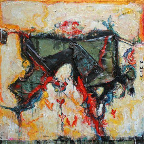 Mais ou est Harlequin ? no Z - 25 - 7 | 182,88 x 182,88 cm / 72 x 72 in. | Huile, acrylique ,encaustique , collage , fragment de cuivre recyclé , intégré sur toile monté sur contre-plaqué / mix media on canvas | 2014