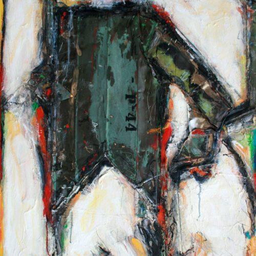 Armure no P - 44 | 91,44 x 121,92 cm / 36 x 48 in. | Huile, acrylique ,encaustique , collage , fragment de cuivre recyclé , intégré sur toile monté sur contre-plaqué / mix media on canvas | 2014