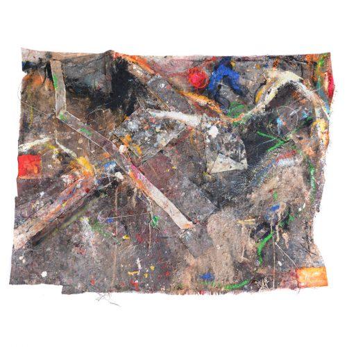 Fossile d'atelier no M -761 | huile, acrylique, pastel, collage sur toile | 2015