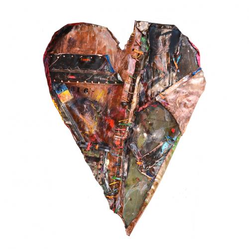 Coeur No1 | dim : 26,64 x 46.46 cm / 13 x 26 in. | cuivre recyclé, intégration de peinture industrielle, acrylique, huile, pigment crayon, aérosol / mixte media on copper | 2016