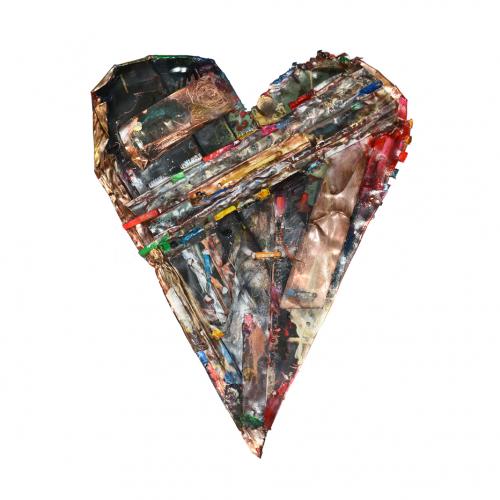Coeur no RQ-33 | cuivre recyclé, intégration de peinture industrielle, acrylique, huile, pigment crayon, aérosol / mixte media on copper | 2107