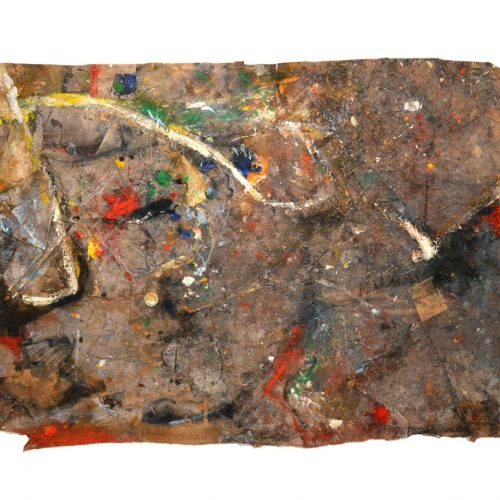 Fossile d'atelier no M - 925 | huile, acrylique, pastel, collage sur toile | 2015