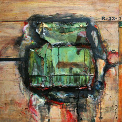 Création no R - 33 -7 | huile , vernis , peinture industrielle et intégration de cuivre sur contre-plaqué | 121 x 121 cm | 48 x 48 in | 2014