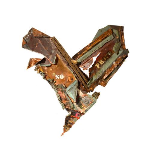 Coeur de Price no SO-A-8 | cuivre recyclé, intégration de peinture industrielle, acrylique, huile, pigment crayon, aérosol / mixte media on copper | 2017
