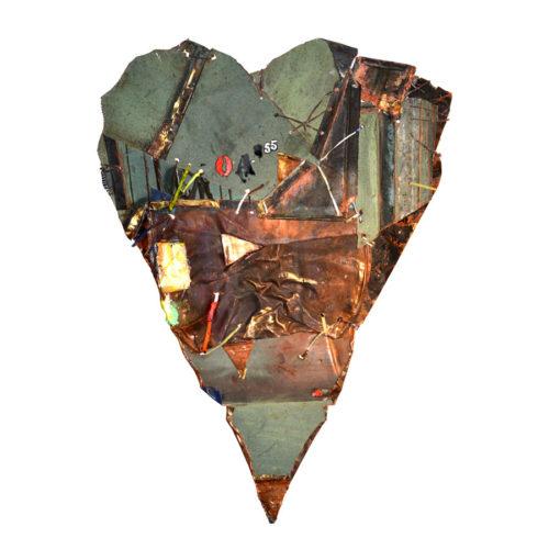 Coeur du forgeron no OA-55 | cuivre recyclé, intégration de peinture industrielle, acrylique, huile, pigment crayon, aérosol / mixte media on copper | 2017