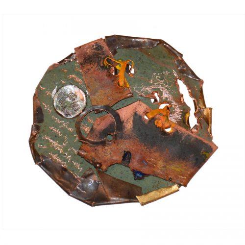 Luno H - 54 | Peinture aérosol, huile , acrylique , crayon cire , sur cuivre recyclé | 2017