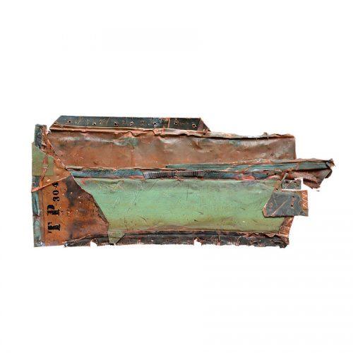 Fragilité du réel no GY-867 | 23 x 87 cm / 9 x 35 in. | Peinture aérosol, huile , acrylique , crayon cire , sur cuivre recyclé | 2017