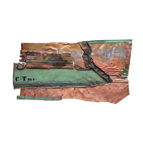 Fragilité du réel no CT- 884 | 40 x 67 cm / 16 x 27 in. | Peinture aérosol, huile , acrylique , crayon cire , sur cuivre recyclé | 2017