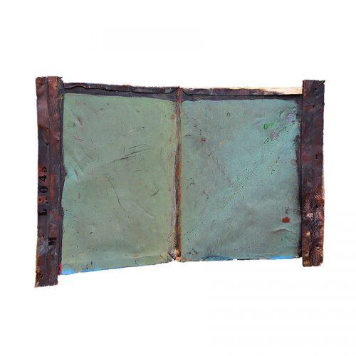 Livre ouvert no LM-045 , | 47 x 79 cm / 19 x 31 in. | Peinture aérosol, huile , acrylique , crayon cire , sur cuivre recyclé | 2017