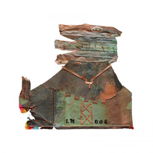 Béni soit cuivre no LM- 05 | 60 x 66 cm / 24 x 25 in. | Peinture aérosol, huile , acrylique , crayon cire , sur cuivre recyclé | 2017