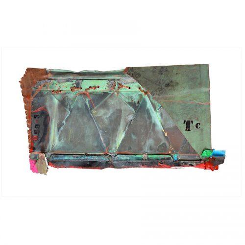 Empreinte de l ,histoire TC - 099-3 | 42 x 75 cm / 17 x 30 | Peinture aérosol, huile , acrylique , crayon cire , sur cuivre recyclé | 2017