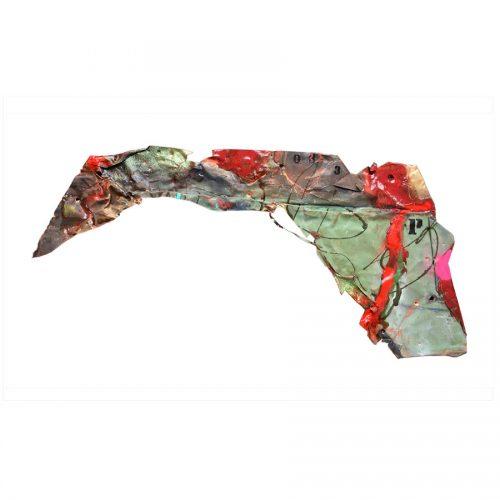Néornithe no P - 033 - dim 51 x 105 cm / 20 x 42 | Peinture aérosol, huile , acrylique , crayon cire , sur cuivre recyclé | 2017