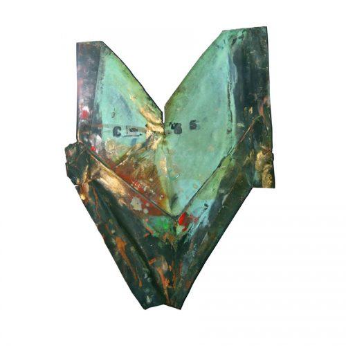 Coeur géométrique C - 55 | huile, cire crayon | 2014
