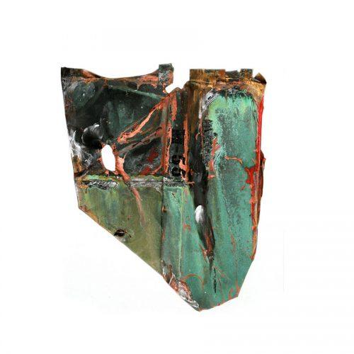 Fragment no M - 35 , ( rivière cuivrée ) cuivre recyclé, | crayon , huile , cire | 2014